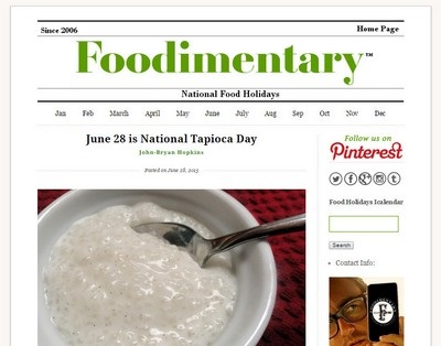 Foodimentary - Website Screenshot