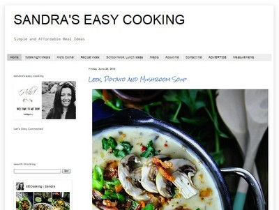 Sandra's Easy Cooking - Website Screenshot