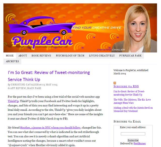 Christine Cavalier Interview - Purple Car Website Screenshot