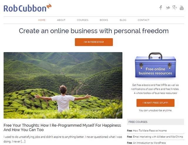 Rob Cubbon Interview - Rob Cubbon's Website Screenshot