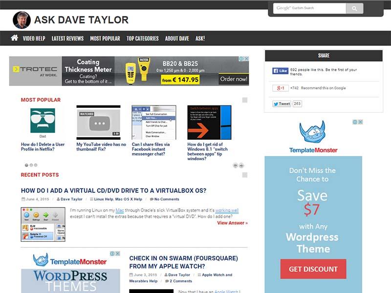 Ask Dave Taylor - Website Screenshot