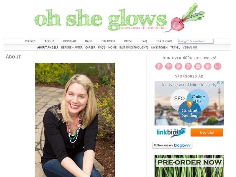 Oh She Glows Website Screenshot