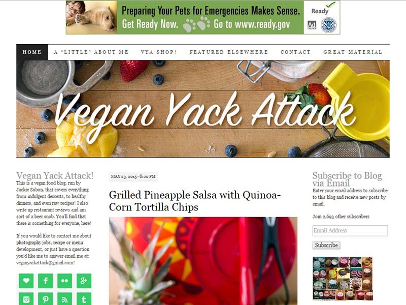 Vegan Yack Attack - Website Screenshot