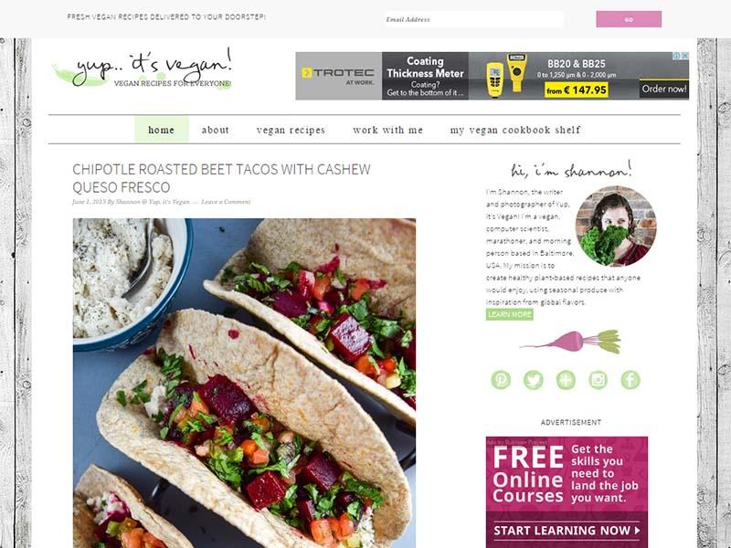 Yup It's Vegan! - Website Screenshot