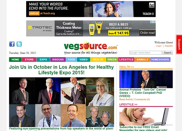 VegSource - Website Screenshot