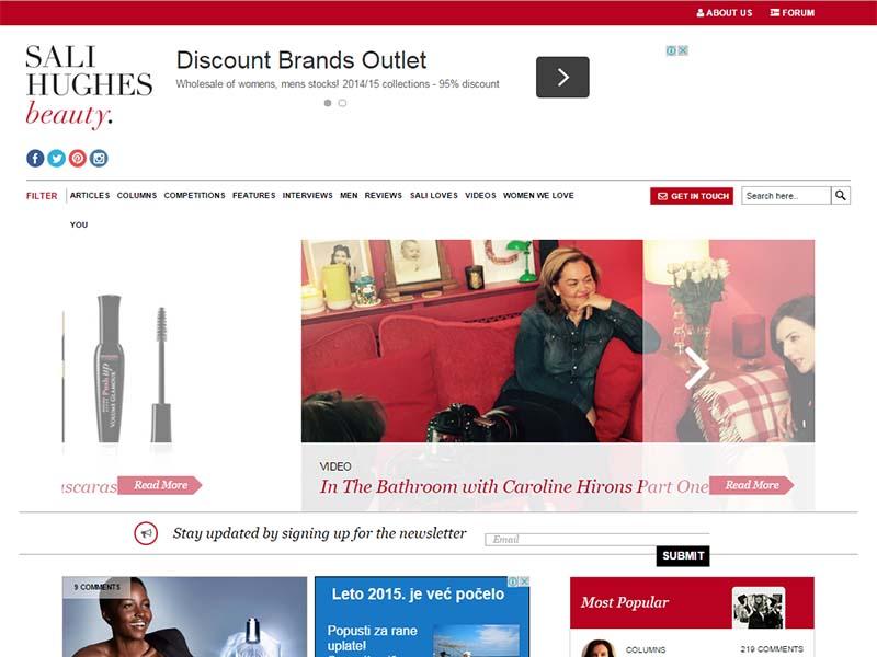 Sali Hughes Beauty - Website Screenshot