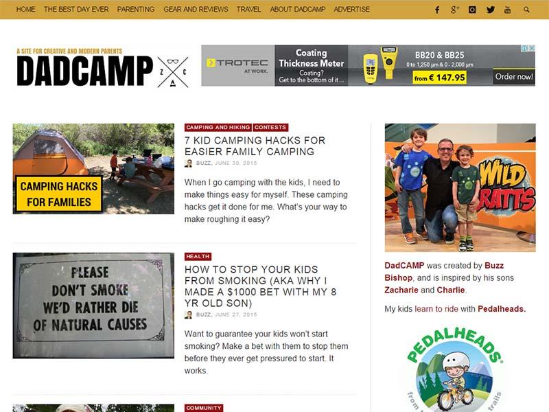 Dad CAMP - Website Screenshot