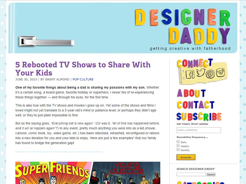 Designer Daddy - Website Screenshot
