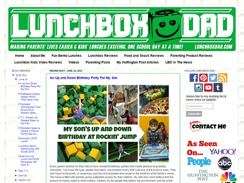 Lunchbox Dad - Website Screenshot
