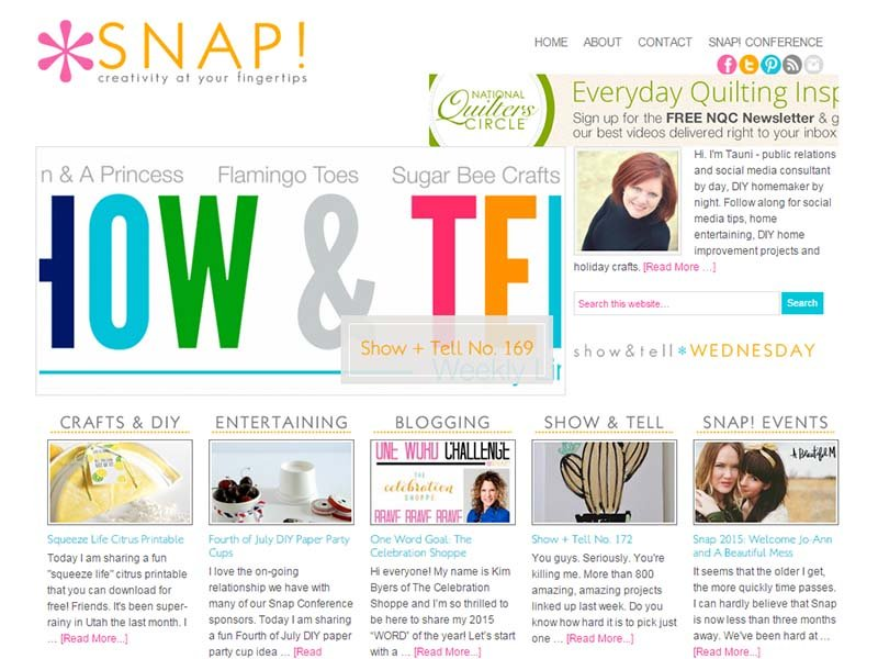 Snap Creativity - Website Screenshot