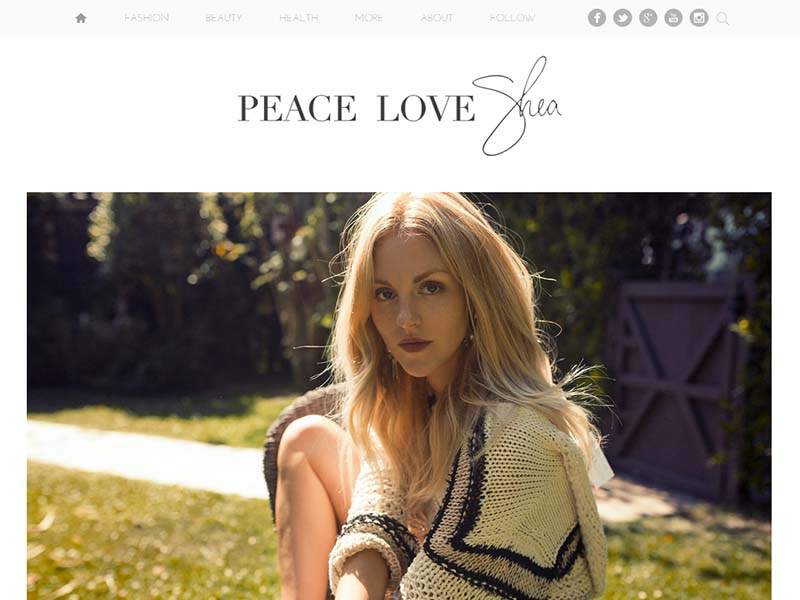 Peace Love Shea - Website Screenshot