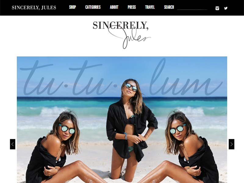 Sincerely Jules - Website Screenshot