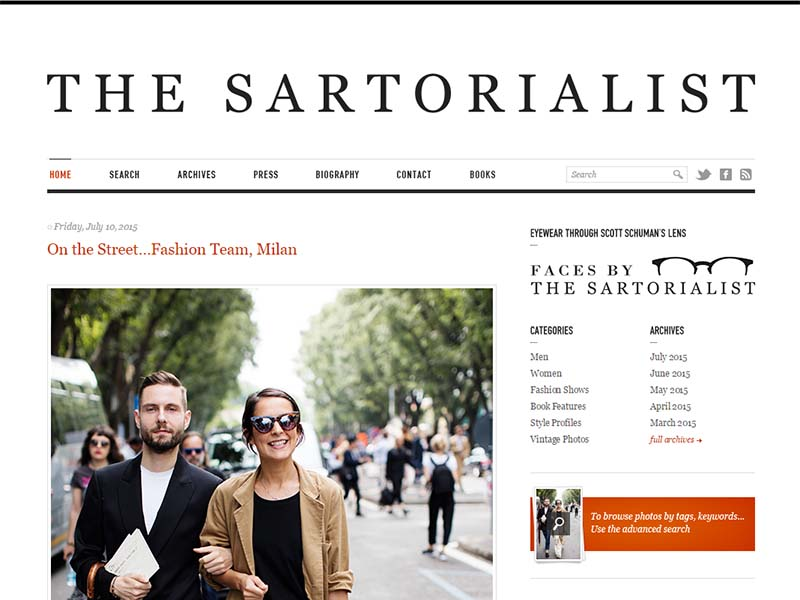 The Sartorialist - Website Screenshot