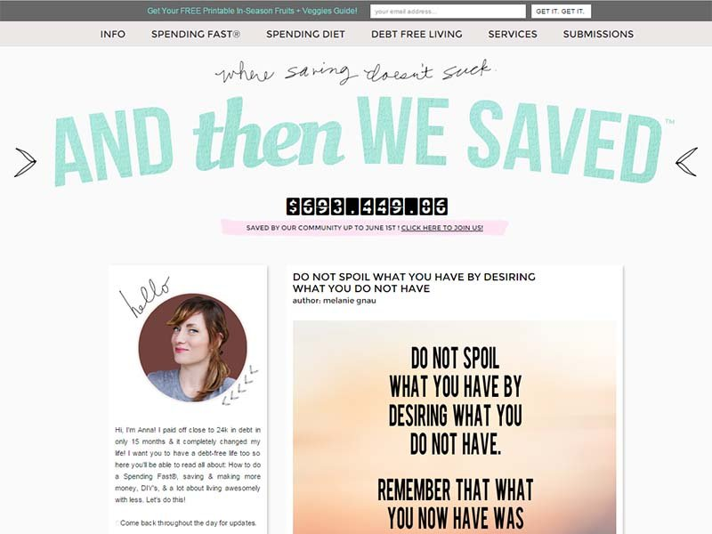 And Then We Saved - Website Screenshot