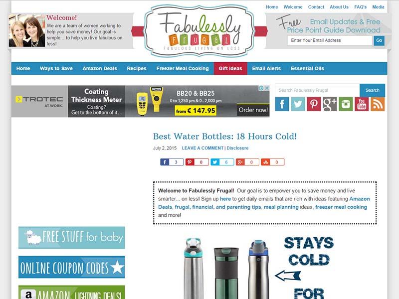 Fabulessly Frugal - Website Screenshot