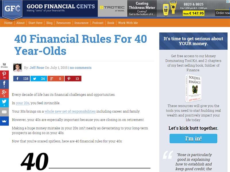 Good Financial Cents - Website Screenshot
