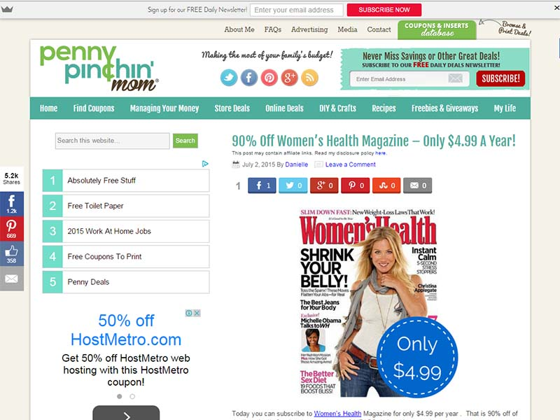 Penny Pinchin' Mom - Website Screenshot