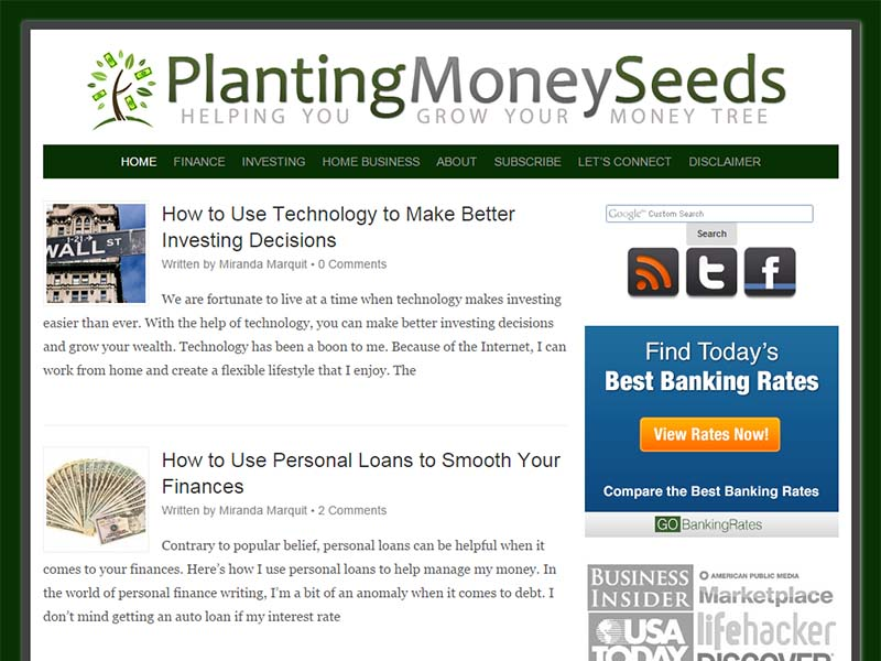 Planting Money Seeds - Website Screenshot