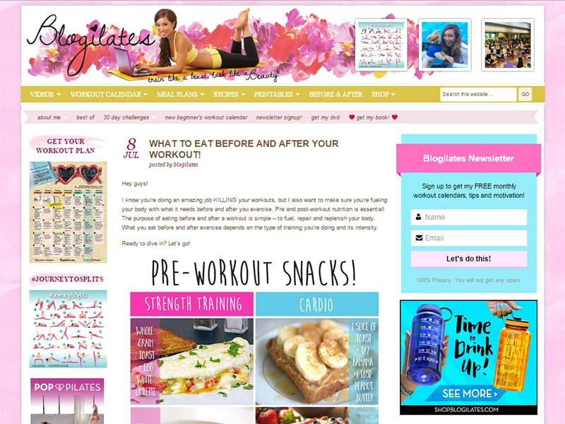 Blogilates - Website Screenshot