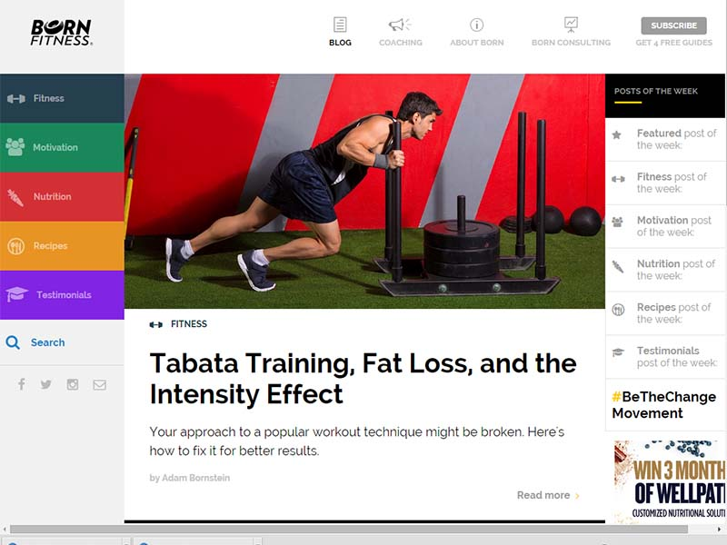 Born Fitness - Website Screenshot