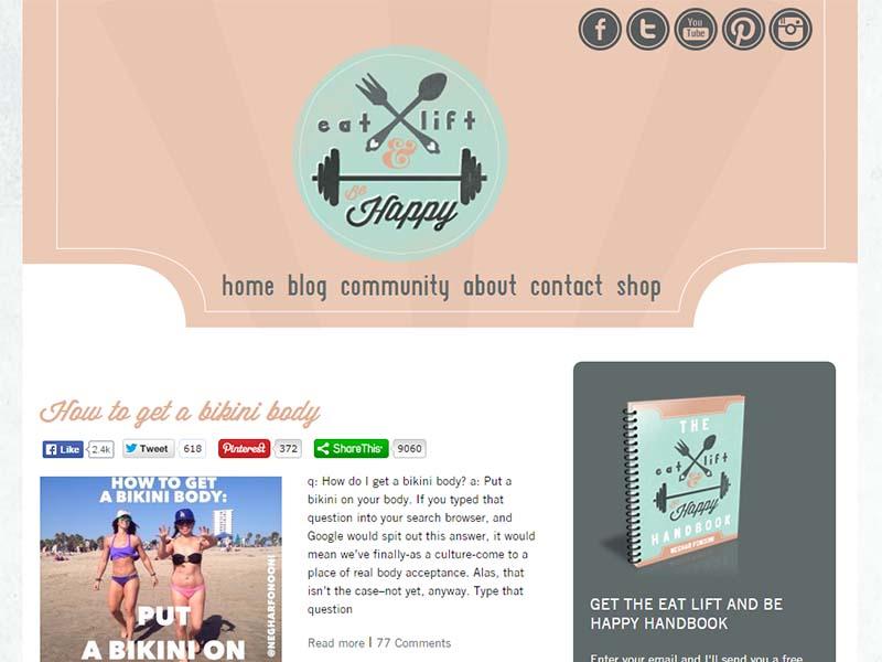 Eat, Lift & Be Happy - Website Screenshot