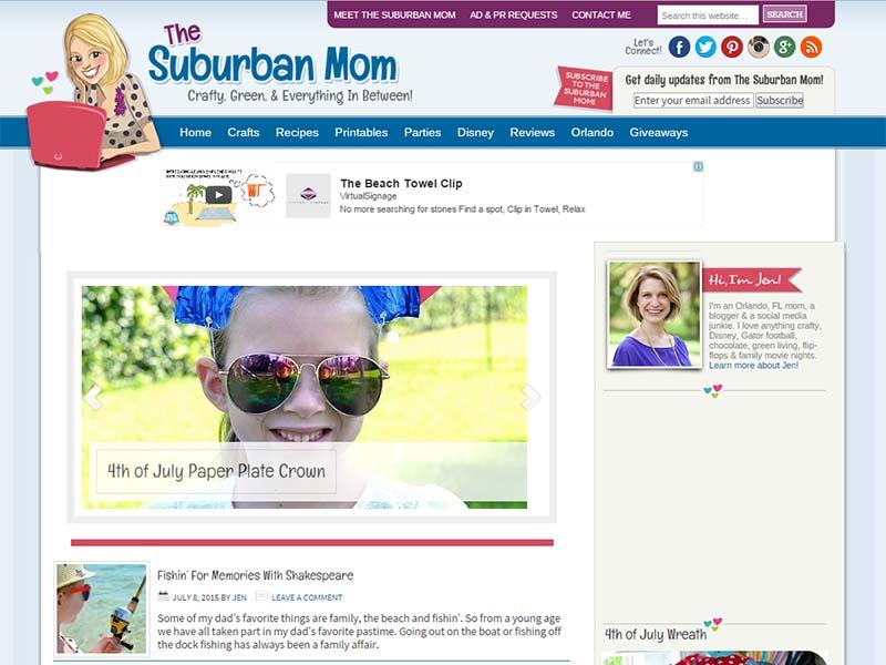 The Suburban Mom - Website Screenshot