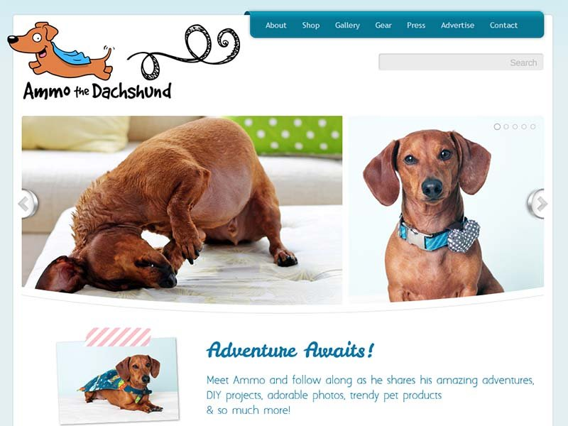 Ammo the Dachshund - Website Screenshot