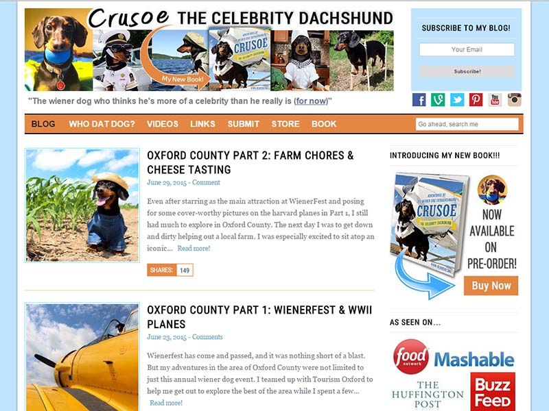 Celebrity Dachshund - Website Screenshot