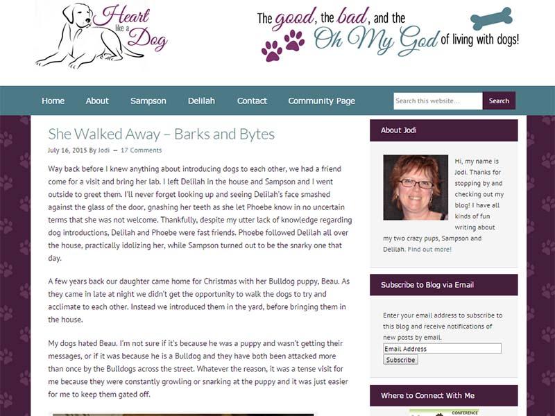 Heart Like a Dog - Website Screenshot