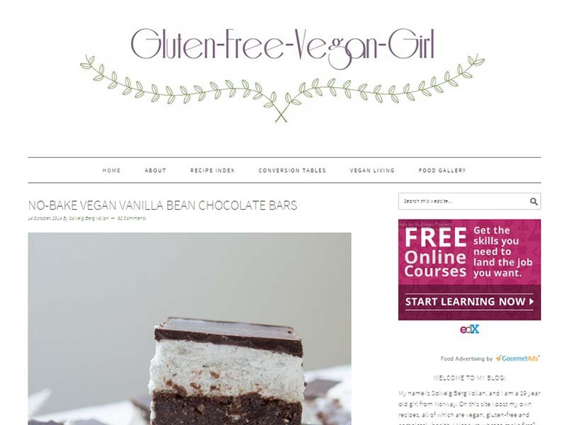 Gluten Free Vegan Girl - Website Screenshot