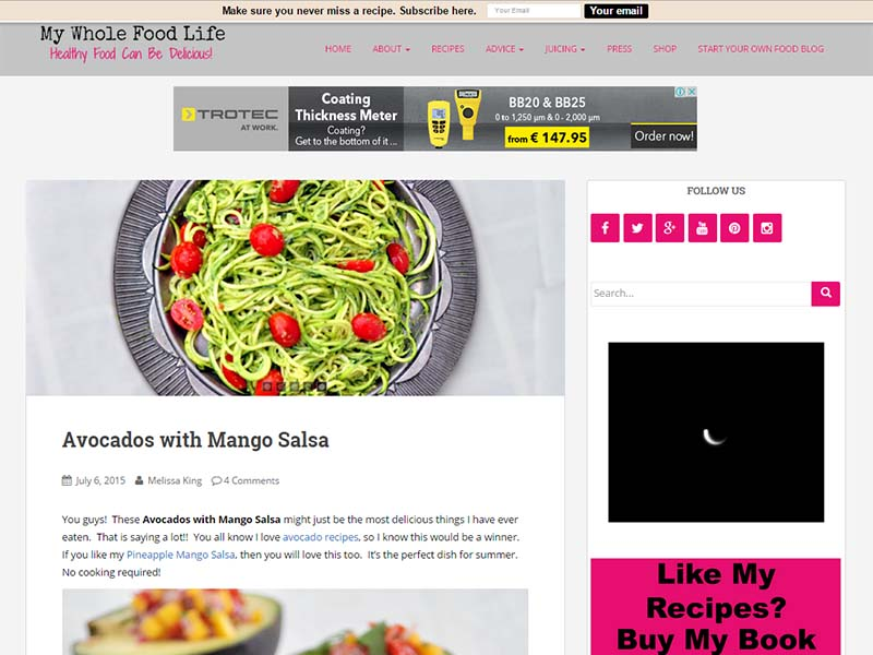My Whole Food Life - Website Screenshot