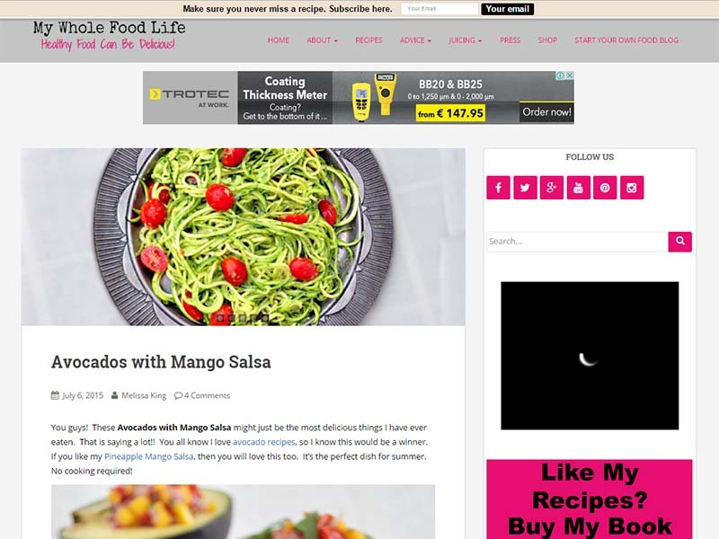 My Whole Food Life - Website Screenshot