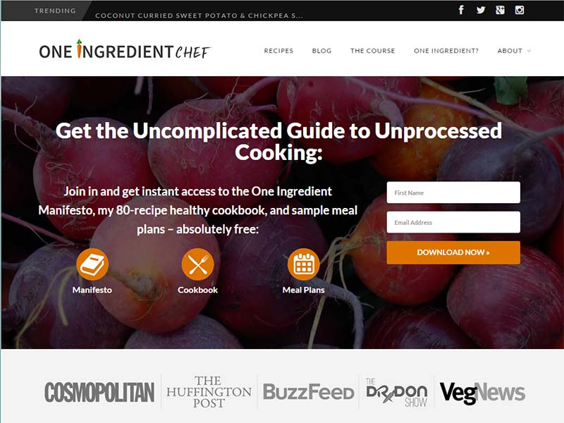 One Ingredient Chef - Website Screenshot