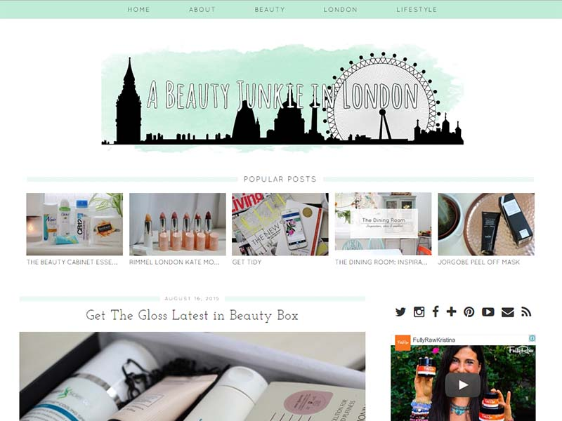 Beauty Junkie London - Website Screenshot