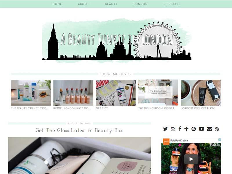 Beauty Junkie London - Website Screenshot
