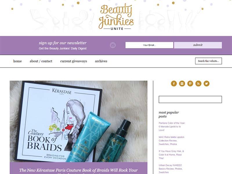 Beauty Junkies Unite - Website Screenshot