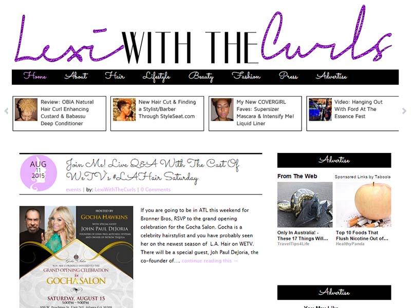 Lexi With The Curls - Website Screenshot