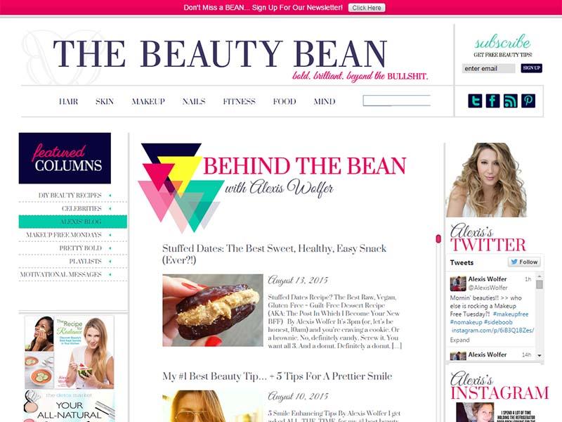 The Beauty Bean - Website Screenshot