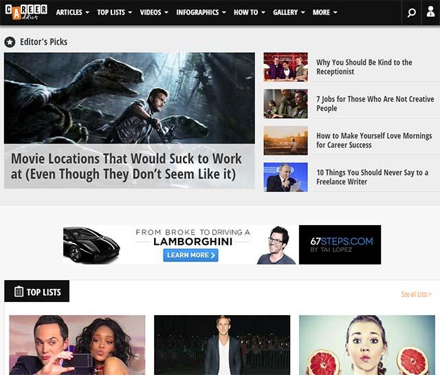 Career Addict Interview - Career Addict Website Screenshot