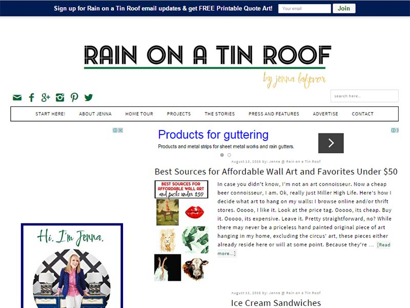 Rain On A Tin Roof - Website Screenshot