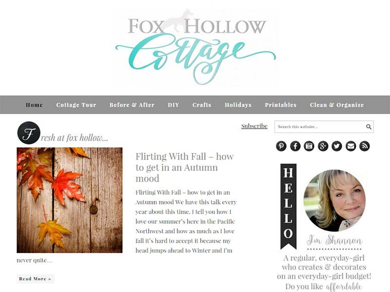 Fox Hollow Cottage - Website Screenshot