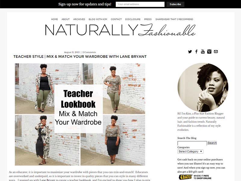The Natural Fashionista - Website Screenshot