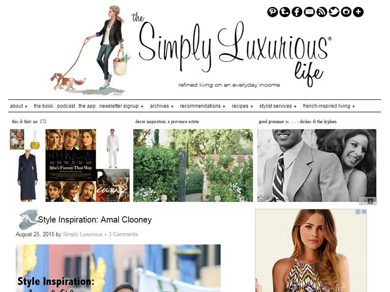 The Simply Luxurious Life - Website Screenshot