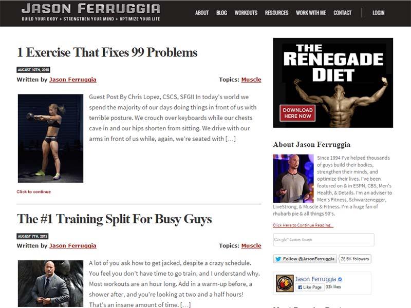 Jason Ferruggia  - Website Screenshot
