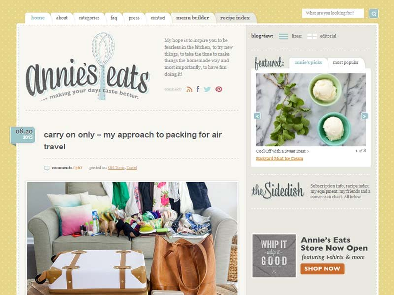 Annie's Eats - Website Screenshot
