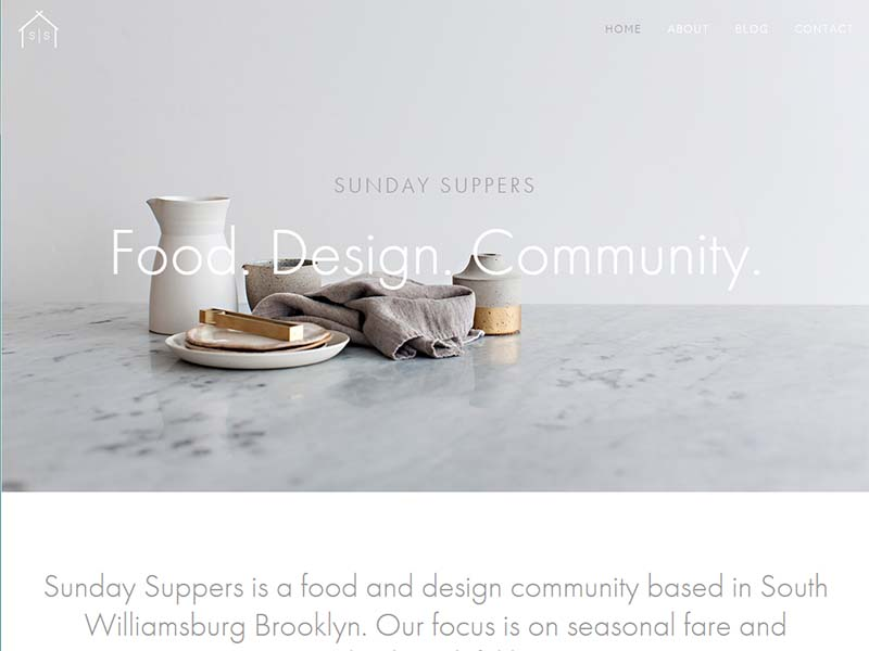Sunday Suppers - Website Screenshot
