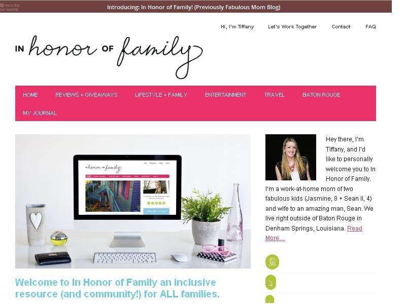 In Honor Of Family - Website Screenshot