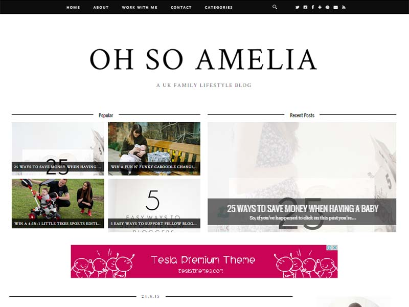 Oh So Amelia - Website Screenshot