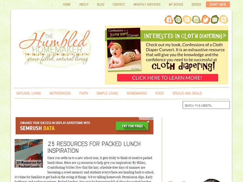 The Humbled Homemaker - Website Screenshot