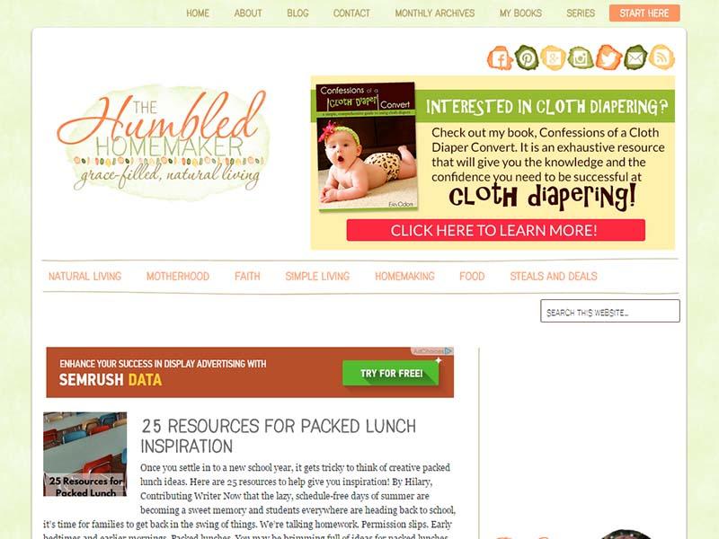 The Humbled Homemaker - Website Screenshot